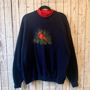 Vintage Embroidered Cardinal Sweatshirt